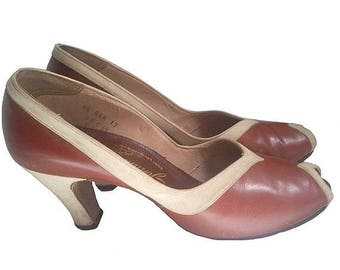 1940 PUMP HEELS / JOHANSEN/ open toe/ two tones  7.5us 39fr