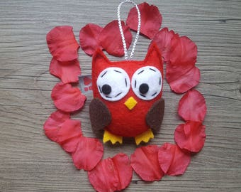Red Owl Ornament, Baby Shower Gift, Woodland Decoration, Party Favor Ideas, Centerpieces, Cute Bird, Eco Friendly Felt, Made in USA