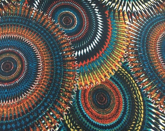 """Jersey Fabric Large Circle Print Teal Rust Green Black Color - Listing for 1 yard & 60"""" Wide"""
