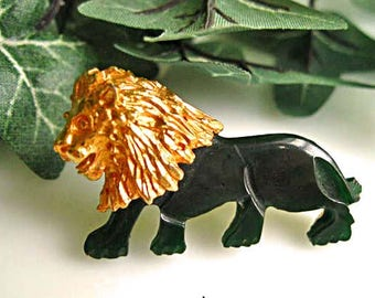 Lion Brooch Carved Jade Nephrite Jadeite, Textured Goldtone Mane, Zodiac Leo August Birth Sign, Jungle Safari Zoo Brooch
