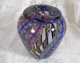 Beautiful  Vintage Murano Twisted Canes Glass Hand Blown Vase Italy Blues White Pink