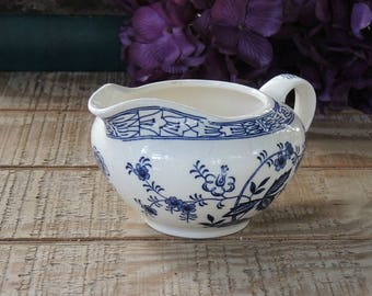 Vintage Blue Onion Creamer Present Blue Angel China Blue Transferware Made in Japan Blue Delft Replacement China