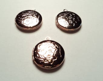 3 pcs - 20mm Rose gold  plated round Lockets with floral design - m267drg
