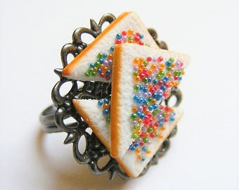 Food Jewelry Fairy Bread Ring, Fairy Bread Jewelry, Miniature Food Jewelry, Mini Food Jewellery, Food Ring, Kawaii Ring, Kawaii Ring, Fairy