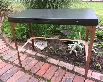 Metal Table Drawer Hammered Black Copper Bar Console
