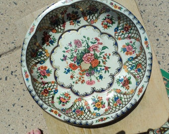 Tin bowl by Daher in white and rainbow florals