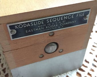 Vintage Kodaslide Sequence File Wooden Slide Box