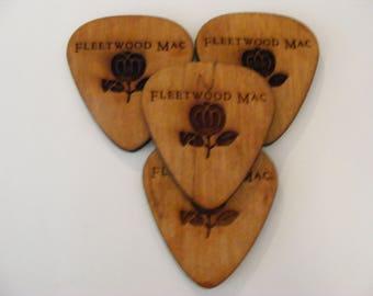 Laser engraved Fleetwood Mac Guitar pick Coasters 10cm x 9cm set of 4