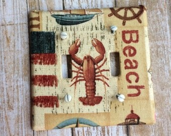 Nautical Light Switch Plate Cover, Beach Switch Plate Cover, Beach Decor, Nautical Decor, Lighthouse, Americana Switch Plate Cover