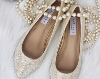 Flat wedding shoes etsy women wedding shoes bridesmaid shoes champagne lace pointy toe ballet flats with scattered rhinestones junglespirit Choice Image