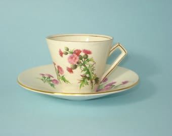 Vintage Tea Cups and Saucers - 6056 Royal Winton Grimwades - Scotch Thistle - Purple Flower - Retro Servingware 1940s