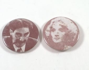 Vintage Stars of the Silebt Screen Buttons - Retro Black and White  Badges - 2 Pins - 1980s