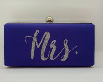 Purple Monogrammed wedding purse/Purple minaudiere clutch /Personalized Gift for her/Bridal shower purse/Spring wedding purse/Mrs clutch