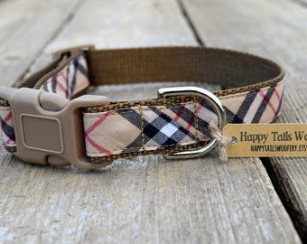 "Holiday Plaid Dog Collar. 1"" wide, available in M, L, XL"