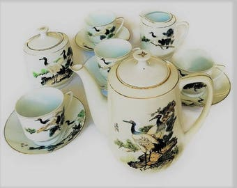 Vintage Chinese Porcelain Tea Set for 4, hard to find Asian tableware cranes pattern, hand painted tea service