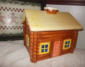 Sierra Log Cabin Cookie Jar, Log Cabin Cookie Jar, Cookie Jar, Vintage Cookie Jar, Log Cabin, Country Decor, Vintage Home Decor, :)s*