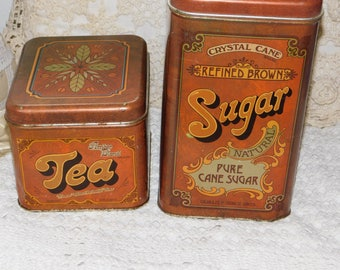 Canisters Tin Tea and Sugar, Vintage Tin Canisters, Vintage Kitchen Decor, Vintage Home Decor, Sugar, Flour, Storage, Organization, Prop
