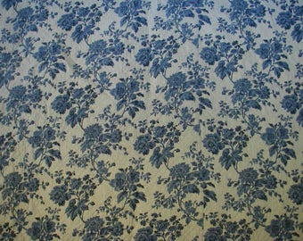 Vintage Quilt-Bedspread, Floral Print, Blue Roses, Full Double Bed Size, Hand Quilted, Reversible, Cottage Chic, Farmhouse Chic