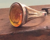 Baltic Amber Ring, Sterling Silver Genuine Amber Ring from Poland, SZ 7.5, Bohemian Amber, 1970s