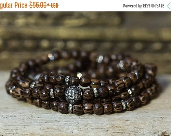 SPRING SALE Wood Bead Bracelet, Wrap Bracelet, Crystal Bracelet, Beaded Bracelet, Boho Jewelry, Layering Bracelet, Stack Bracelet, Simple Br