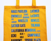 GO BEARS Tote!  Blue and Gold Spiritwear Tote celebrating UC Berkeley landmarks - Perfect gift for Cal Students and Alumni - Canvas Bag