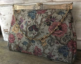 Floral Tapestry Carpet Bag, Art Deco, Antique Handbag Purse
