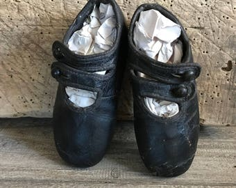 Victorian Childs Baby Black Button Boots, Black Leather Boots, Doll Shoes Boots