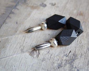 Long silver boho necklace, Bohemian jewelry, Beaded boho necklace, Long boho necklace, Geometric beads necklace, Black wood beads necklace