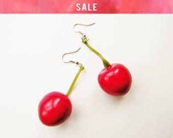 SALE Faux Cherry Earrings