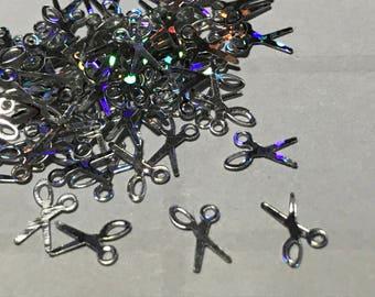 20 silver scissor design nail art confetti, 5 x 7 mm (S11/2)