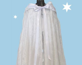 Girl's White Velour Long Hooded cape with bag and string of beads