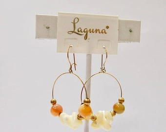 On Sale LAGUNA Mother of Pearl and Beaded Dangle Earrings Item K # 578
