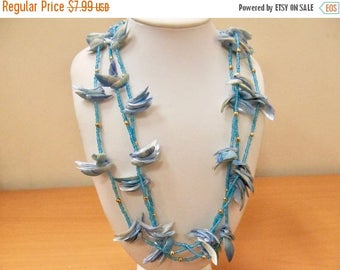 ON SALE Vintage Blue Shell and Beaded Necklace Item K # 2311