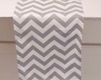 Grey Table Runner  Grey Chevron Zigzag Table Runner  Grey Table Cloth.  VARIOUS COLORS