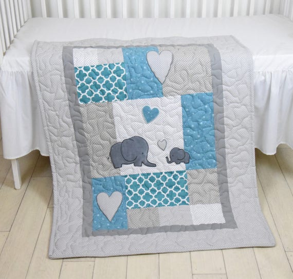 Elephant Baby Blanket, Teal Gray Quilt,  Crib Bedding,   Elephant Blanket, Grey Safari Nursery