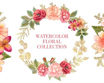 Watercolor floral Clipart | Flower Leaves Clipart - Pink roses, glitter Branches and Stems - Gold Wedding wreaths Invitation Clip Art PNG