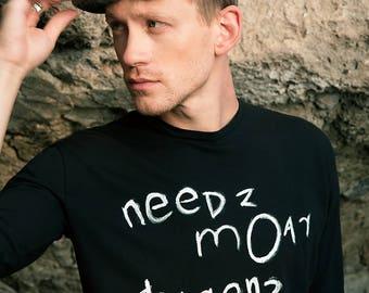 Alternative hand painted Needz Moar Dragonz t shirt from organic cotton