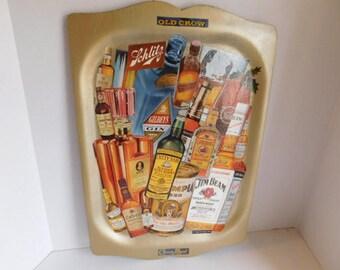 Vintage Decoupage 50's 60's Liquor Bottle Refurbished Tray