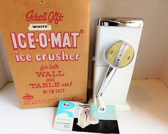 White Vintage ICE O MAT Ice Crusher for Wall Or Table Use
