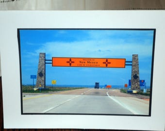 Photo card, Welcome to New Mexico sign Highway 40 photograph