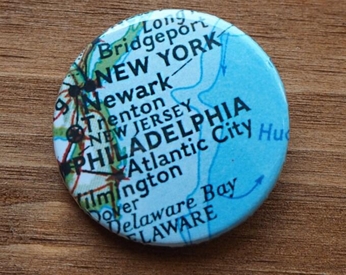 Pinback Button, Philadelphia, Ø 1.5 Inch Badge, Atlas, Travel, vintage, fun, typography, whimsical