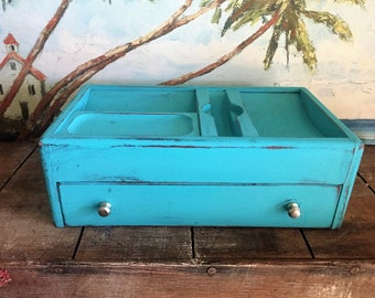 Vintage Mens Valet Stand | Wood Valet Box | Wooden Caddy | Box with Drawer | Mens Jewelry Box - FATHERS DAY GIFT - painted teal