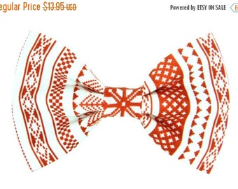 ON SALE READY to Ship- Christmas Sweater Dog Bow Tie, Red and White Winter Sweater Dog Collar Bow Tie: Christmas Sweater Iii