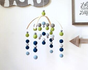 BLUE & GREEN Felt Ball Mobile, Baby Mobile, Crib Mobile, Nursery Cot Mobile, Pom Pom Mobile, Nursery Mobile, Crib Mobile for Boys, Silver