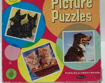 Vintage 1950's Puppy and Kitten Puzzles Whitman Publishing Tell-a-Tale