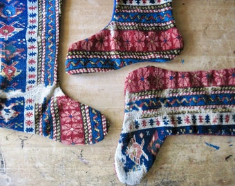 Handmade Christmas Stockings, Antique Wool Rug Stockings, Primitive Christmas Decor, Antique Christmas Stockings, Oriental Rug Remnants