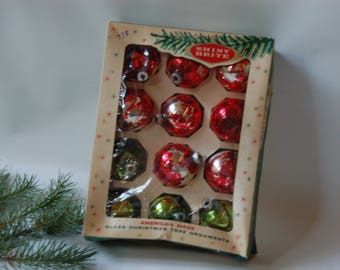 Boxed Shiny Brite Ornaments. Red and Green Shiny Brite ornaments. Vintage Shiny Brite ornaments.