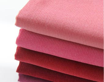 Fine Wale Cotton Corduroy - Peach Pink, Pink, Red, Wine, Eggplant or Purple - By the Yard 82763