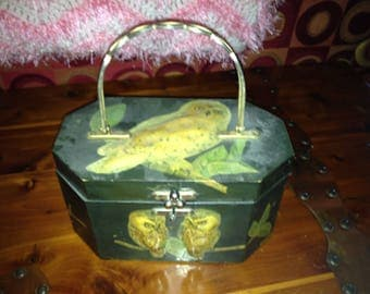 Vintage 1950s Annie Laurie Originals of Palm Beach Decopauged 3D Black, Gold, Yellow Wood Puffy Owl Box Bag