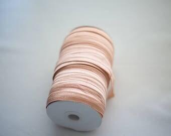 Peach 5/8'' Fold-Over Elastic Roll